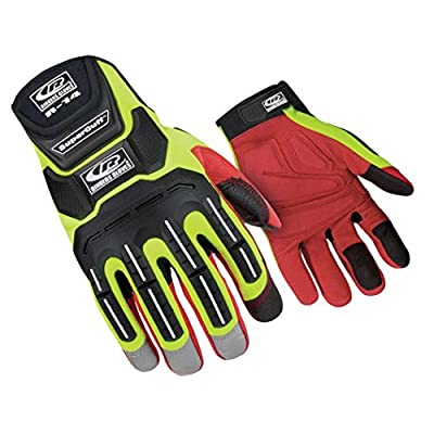 Ringers Gloves R-14 Mechanics HiVis, Cut and Impact Protection, Padded Palm