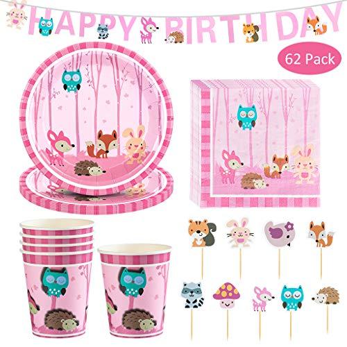 DreamJing Pink Tiere Partygeschirr Set - 62 TLG, Wald Papier Geschirr Set inklusive Teller Becher Servietten Banner und Cake Toppers//Eule,Fuchs,Elch,Lgel,Hase Jungle Party Deko für 16 Kinder
