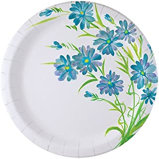 Nicole Home Collection 48 Count Everyday Paper Plate, 8-5/8-Inch, Blue Floral