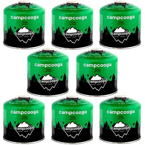 campcooga 8 x 500gr Butan Gaskartusche Schraubkartusche Ventil Camping Grill tragbar EN417 (8X 500gr Butangaskartusche)