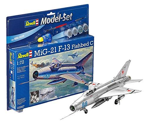 Revell Modellbausatz Flugzeug 1:72 - MiG-21 F-13 Fishbed C im Maßstab 1:72, Level 4, originalgetreue Nachbildung mit vielen Details, , Model Set mit Basiszubehör, 63967