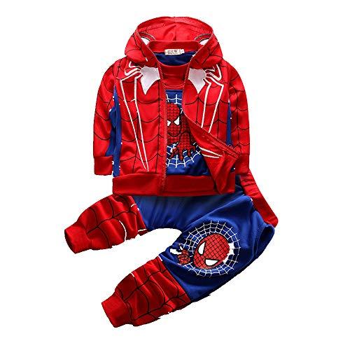 Spiderman Kinder Bekleidungssets Kostüm Jungen Sweatshirt Hose Kapuzenpullover Kinderanzug Babyanzug Junge Anzug Kleidung Outfit Schlafanzug Nachtwäsche Nachthemd T-Shirt 3 pcs 150
