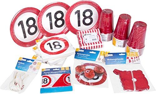 Heku 30006-18 Party-Set zum 18. Geburtstag mit Tellern, Bechern, Servietten, Luftballons, Luftschlangen, Rotorspiralen, Einer Girlande und Absperrband, 133-teilig, Rot/Weiß, 40 x 29 x 17 cm