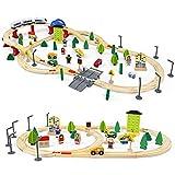 Tren de Madera Juguetes-93 Piezas Tren Juguete con 4 Coches de Juguetes Madera,1 Tren Electrico Magnético Juegos Educativos Regalo Construcciones para Niños 3 4 5 6 Años Niñas