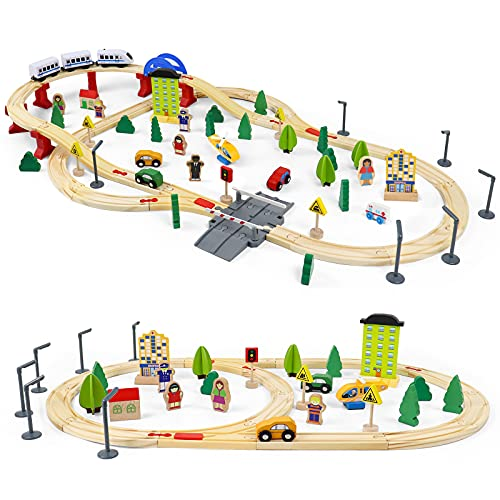 Fajiabao Wooden Train Toys Set-93 PCS Wooden Train Track Railway with 4 Wooden Cars,1 Magnetic Train Educational Toys Gift for 3 4 5 6 Year Old Boys Girls