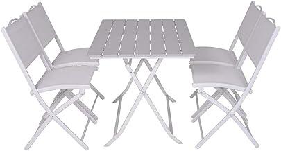 Rettangolare con 4 Sgabelli in Acciaio Grigio e Bianco Cucina Perfetto per Arredo Esterno Terrazzo e Giardino Enrico Coveri Set Tavolo Bar Grande