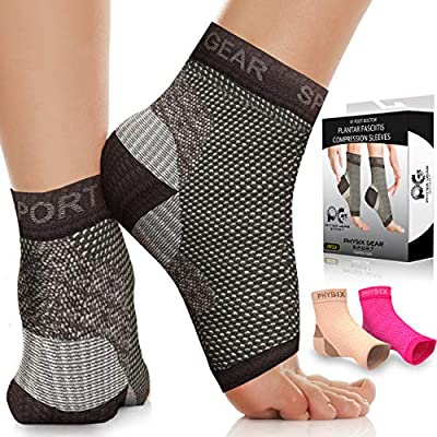 Physix Gear Plantar Fasciitis Socks with Arch Support for Men & Women - Best 24/7 Compression Foot Sleeve for Heel Spurs, Ankle, PF & Swelling - Holds Shape & Better Than a Night Splint - Black XXL