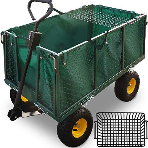 Deuba Carro para jardín Verde con ruedas carga máx de 550 kg carretilla de jardín con lona extraíble transporte fácil