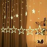 Lichterkette mit LED Kugel weihnachtsdeko,12 Sterne Lichtervorhang, Weihnachts-Innenbeleuchtung, Lichterketten für Innenräume, 8 Modi Innen & Außenlichterkette Wasserdicht, Warmweiß Sternenvorhang