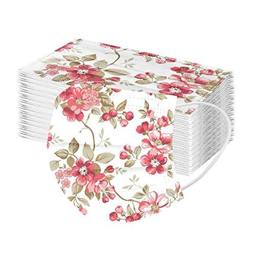VIAS 50 x Erwachsene Mundschutz mit Blumenmuster Motiv, Einweg 3Ply Blumen Druck Atmungsaktiv Masᴋe, Mund und Nasenschutz Bedeckung Multifunktionstuch Bandana Halstuch (F)