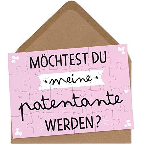 OWLBOOK Patentante Fragen Puzzle mit Brief-Umschlag Geschenke Geschenkideen für Patentante zur Geburt & Schwangerschaft zur Taufe