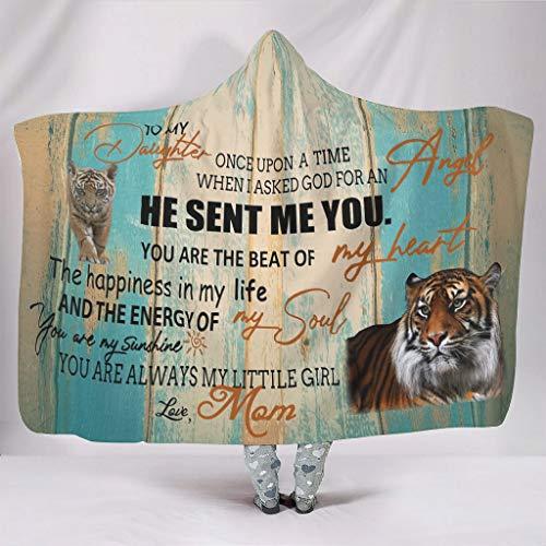Sudadera con capucha con texto en alemán 'Zu meiner Daughter' de Mama, ligera, suave, tamaño grande, portátil, adecuada para adolescentes, color blanco, 130 x 150 cm