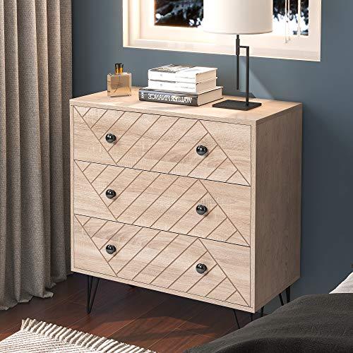 YSINOBEAR Nachttisch Aufbewahrungsschrank Kommode, 3 Schublade mit Metallgriffen und Läufern, einzigartige Feste Rückwandplatine und einzigartige Zig Zag-Design Schlafzimmermöbel