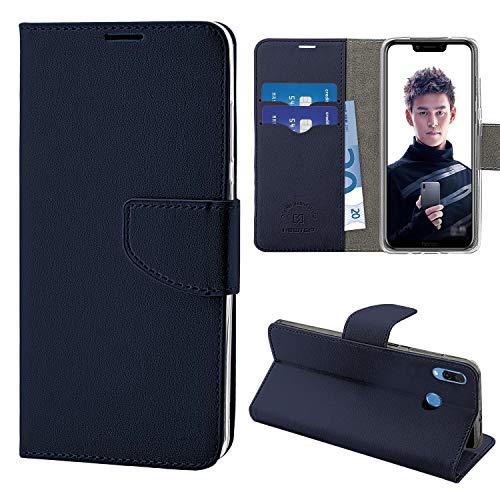 """N NEWTOP Cover Compatibile per Huawei Honor Play 6.3"""", HQ Lateral Custodia Libro Flip Chiusura Magnetica Portafoglio Simil Pelle Stand (Blu)"""