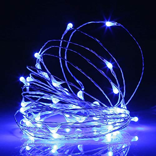 ANGMLN 2 Pack Fairy String Lights Battery Operated 3M 30LED Copper Wire Firefly Small led Lights Starry String Lights DIY Wedding Party Jars Home Garden Indoor Outdoor Decor (Blue)