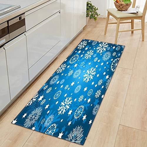 XIAOZHANG long door mat runner Chic snowflake decoration Crystal velvet Floor Rugs Anti Skid Mats Living Room Bedroom Kitchen 60x180CM