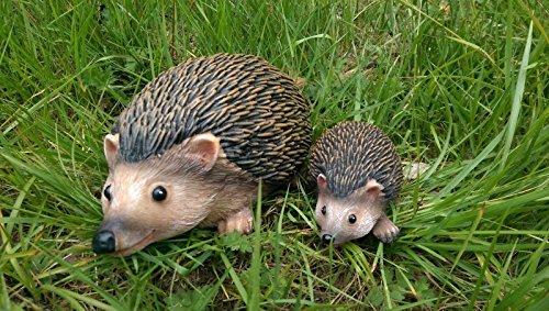 Homezone 2pc Mother & Baby Hedgehog Resin Garden Fairy Ornaments Flower Pot Plant Pot Home Decor Hedgehog Family.