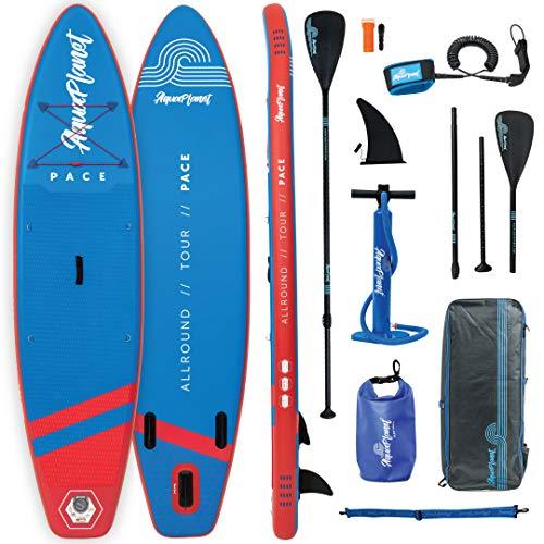 Aquaplanet 10ft 6' x 15cm PACE Stand Up Paddleboard - Incl: SUP, Hand Air Pump w/Pressure Gauge, Adjustable Aluminum Floating Paddle, Repair Kit, Rucksack, Coiled Leash & 4 Kayak Seat Ring Fittings