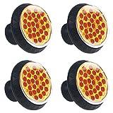 TIZORAX Pizza con rodajas de pepperoni Perillas de los cajones Tiradores Manijas 30 mm 4 piezas Tiradores de cajones para gabinetes de vidrio para el hogar Armario de cocina