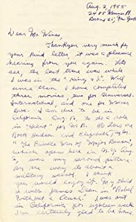 Sal Mineo - Autograph Letter Signed 08/12/1955