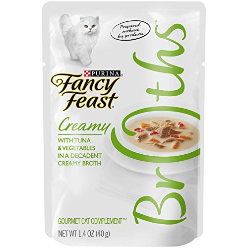 Purina Fancy Feast Broths For Cats, Creamy, With Tuna And Vegetables, 1.4-Ounce Pouch, Pack Of 32