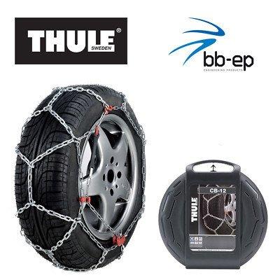 Schneekette THULE CB-12 PKW für die Reifengröße 215/60 R16 (nicht für Bridgestone Duravis geeignet) Preis-Leistungs-Sieger (1 Satz - 2 Stück Schneeketten) im Set mit hochwertigen Handschuhen