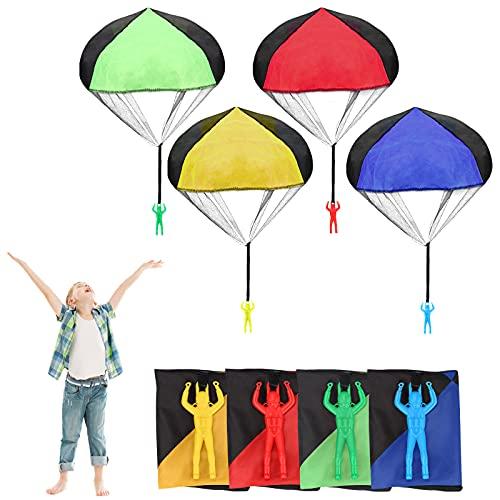 yumcute Paracaídas para NiñOs,Multicolor Paracaídas Juguete 4pcs,Mano Lanzar Paracaídas para Juego Infantil,Paracaidista Juguete para NiñOs,Mini Paracaídas para Lanzar A Mano para Regalos para NiñOs