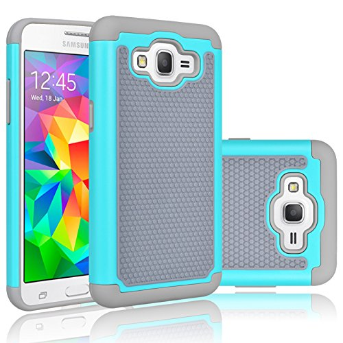 Tekcoo Grand Prim Case/Galaxy Go Prim Case, [Tmajor] Shock Absorbing [Turquoise] Hybrid Rubber Plastic Defender Rugged Slim Hard Protective Case Cover Shell for Samsung Galaxy Grand (GO) Prim