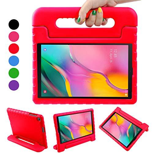 BelleStyle Hülle für Samsung Galaxy Tab A 10.1 2019, Eva Stoßfeste Leicht Schützend Kinder Schutzhülle Cabrio Handgriff Ständer Abdeckung für Galaxy Tab A 10.1 Zoll T515/T510 2019 Tablette (Rot)
