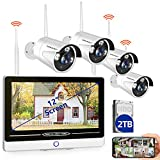 "【2020 Update】SMONET All in One with 12"" Monitor 1080P Security Camera System Wireless,8-Channel"