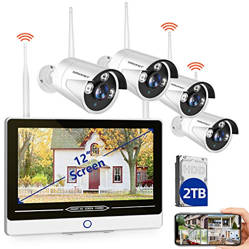 """【2TB Hard Drive Pre-installed】SMONET All in One with 12"""" Monitor 1080P Security Camera System Wireless,8-Channel Outdoor Home Camera System,4pcs 2.0MP(1080P) Waterproof Wireless IP Camera,P2P,Free APP"""