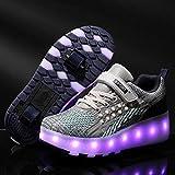 Calababa - Zapatos de Skate con Luces LED y Ruedas Dobles Recargables por USB, retráctiles automáticos en línea, Zapatos técnicos para monopatín, Color Gris