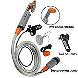 Qbuds Tragbare Campingdusche, kompakte Duschpumpe mit Zwei abnehmbaren USB-Akkus, Handbrause für...