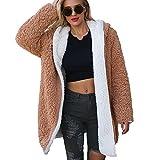 Reooly La señora Escudo de lana caliente de la chaqueta de dos caras Escudo de avance y retroceso de invierno Parker la chaqueta con capucha para Mujeres los marrón