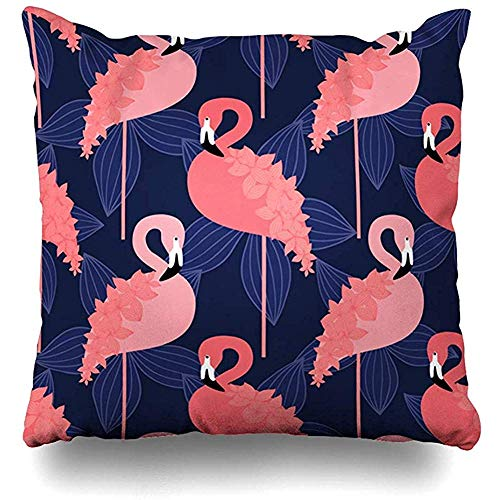 Jonycm Bank Kussens Blouse Strand Roze Flamingo Op Doek Vogel Boho Ontwerp Zomer Decoratieve Kussen Cover Home Decor Vierkante Kussensloop Kussensloop 45X45Cm