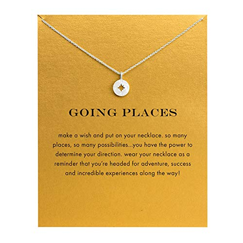 LANG XUAN Message Card Compass Necklace Good Luck Bar Pendant Necklace for Women Jewelry