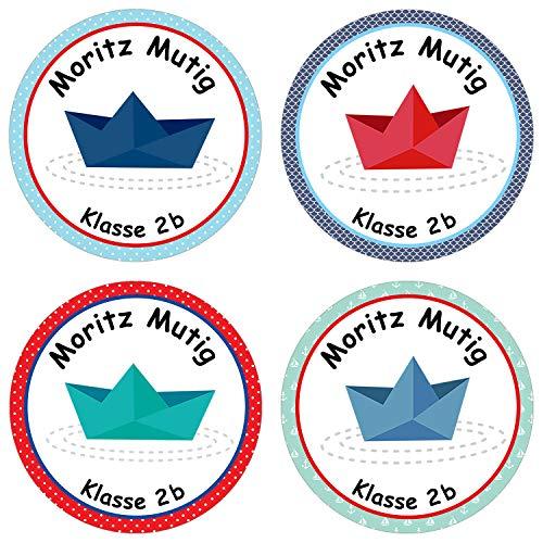Papierdrachen 24 individuelle Aufkleber für Kinder - Motiv Boote - personalisierte Sticker - Schule Einschulung