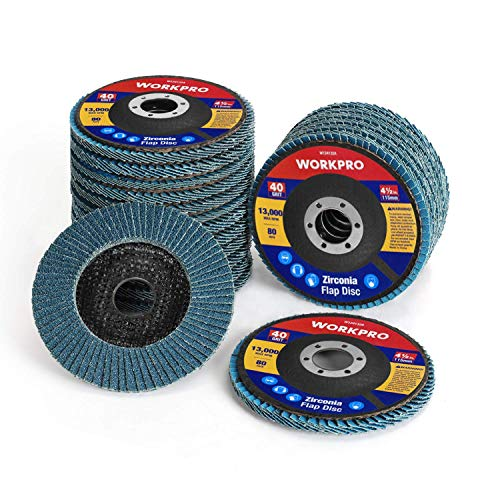 WORKPRO 20-Pack Flap Discs, 4-1/2-inch, Arbor Size 7/8-inch, T29 Zirconia Abrasive Grinding Wheel and Flap Sanding Disc, Includes 40/60/80/120 Grits