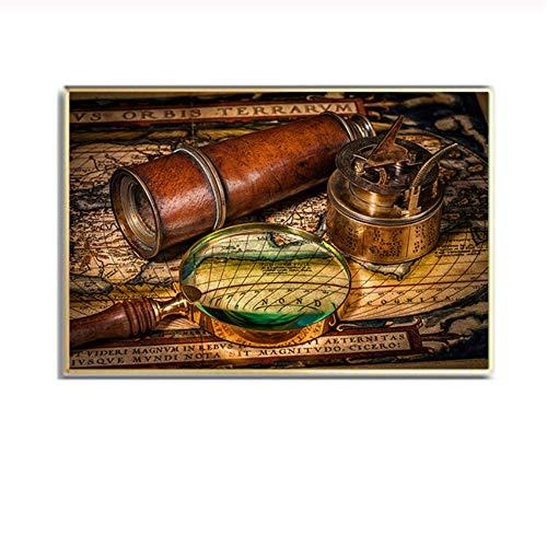 YCCYI Bild auf Leinwand Retro Weltkarte Seekarte Poster und Drucke Leinwand Malerei Wandkunst Antikes Büro Wohnkultur 24x41 Zoll (60x105cm) Kein Rahmen