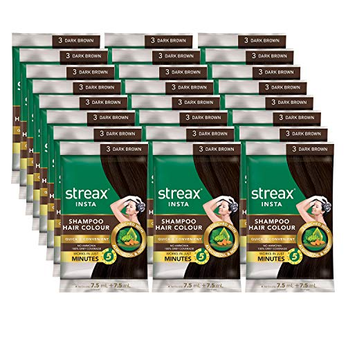 Streax Insta Shampoo Hair Colour For Men & Women | Enriched With Almond Oil & Noni Extracts | Long-Lasting Instant Colour | Dark Brown, 15 ml (Pack of 24)