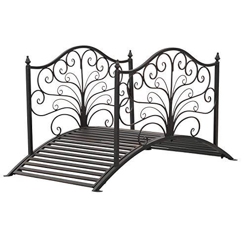 Outsunny 4' Metal Arched Backyard Decorative Garden Bridge – Black Bronze