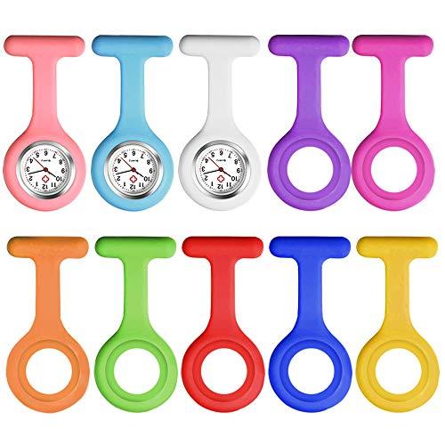 Vegena Krankenschwesteruhren, 3 Stück Krankenschwester Uhr mit 10 Hygienische Silikonhüllen Schwesternuhr Ansteckuhr fob Taschenuhren Zeiger Pflegeuhr mit Clip für Damen Herren Pfleger Doktor