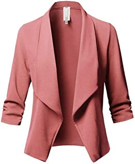 bbbb63d7b94 Forartt Womens 3 4 Stretchy Ruched Sleeve Open Front Work Office Blazer  Jacket