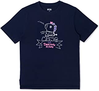 BT21 Official Merchandise MANG Character Unisex Doodling Lettering Artwork Graphic T-Shirt, Large, Navy