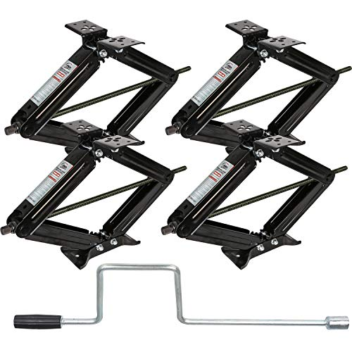 WEIZE RV Trailer Camper Stabilizer Leveling Scissor Jacks with Handle-24-7500lbs - Set of 4