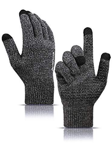HONYAR Handschuhe Damen Winter, Winterhandschuhe Herren Touchscreen - Warme Gefüttert - Elastische Manschette - Rutschfester Griff - Laufhandschuhe Fahrradhandschuhe Autofahren - Schwarz & Grau (M)