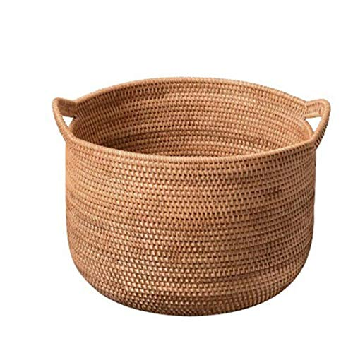 DDHZTA Laundry Basket/Laundry Box Made of Real Rattan, Large Laundry Hamper/Laundry Chest,Hand Woven Laundry Basket,Rattan Divided Clothes Hamper with Handles,C