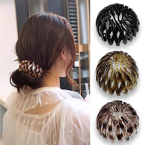 3 Pieces Expandable Ponytail Holder Ponytail Hairpin Curling Birds Nest Hair Clip Vintage Geometric Retractable Hair Loops Bird Nest Hairstyle Headbands(3#, 3 Mixed Color)
