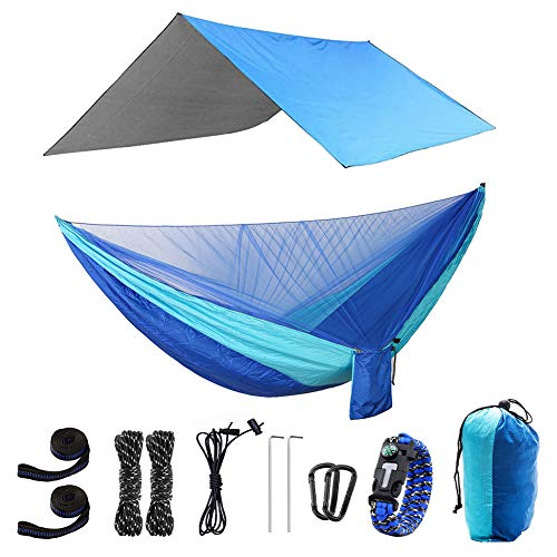 GOHIGH Camping Hammock with Mosquito Net and Rainfly Tent Tarp Tree Straps, Portable Single Double Parachute Hammock Rain Fly Set for Backpacking Hiking Travel Yard Outdoor Activities