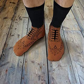 Ginger Fox Novelty Joke Brogue Shoes Style Socks - One Size Fits All UK 5-11 - Add A Bit Of Classic Country Style
